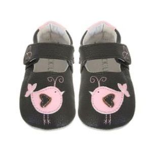 🆕NIB Jack and Lily Brown with Pink Bird Leather Mocks size 18-24 Months
